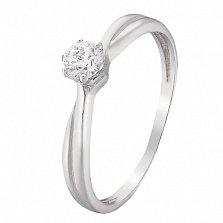 Помолвочное серебряное кольцо Менуэт с фианитом
