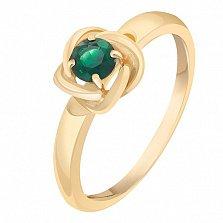 Кольцо в желтом золоте Орбита с изумрудом