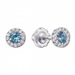 Серебряные серьги-пуссеты Солнышко с голубым кварцем и цирконием, 6мм