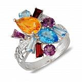Золотое кольцо с аметистами, гранатами, топазами, цитрином и бриллиантами Кэрол