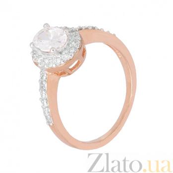 Позолоченное серебряное кольцо с цирконием Викторианский стиль 000028403