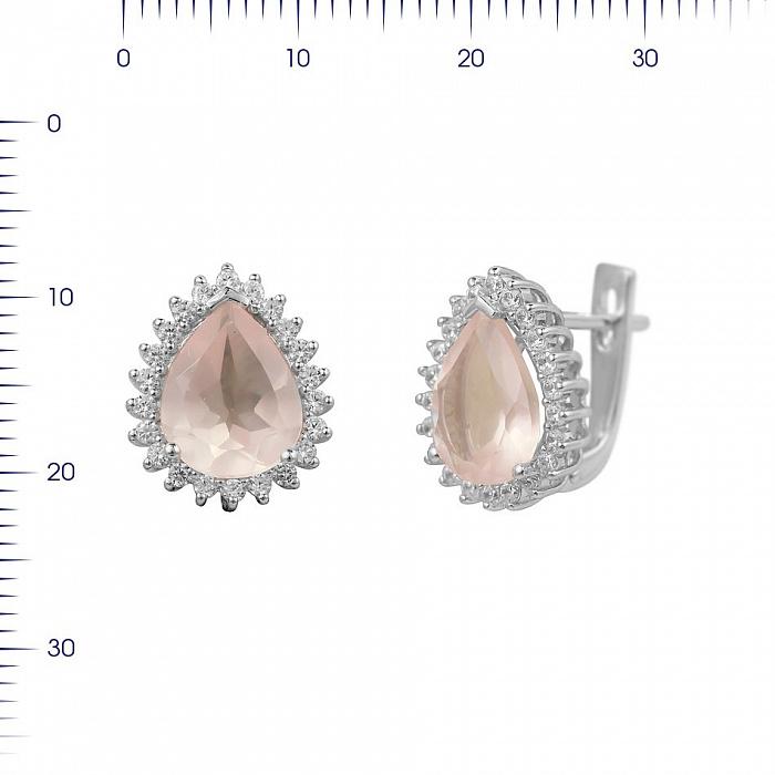 Серебряные серьги Фелиция с розовым кварцем и фианитами 000081877