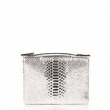 Кожаный клатч Genuine Leather 1606 бело-серебристого цвета под кожу рептилии с короткой ручкой
