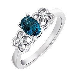 Серебряное кольцо с топазом лондон и фианитами 000132124