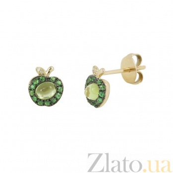 Золотые серьги с хризолитом и цаворитами Яблоко 000026638