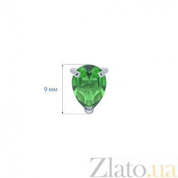 Серьги-гвоздики из серебра с зеленым цирконом Капелька AQA--220500151/6G