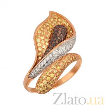 Золотое кольцо Камелия с фианитами VLT--ТТ1021-3