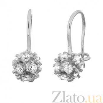 Серебряные серьги с фианитами Астероиды SLX--С2Ф/281