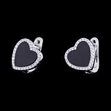 Серебряные серьги Романтический вечер с ониксом и фианитами