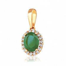 Золотой кулон Альда с зеленым ониксом и фианитами