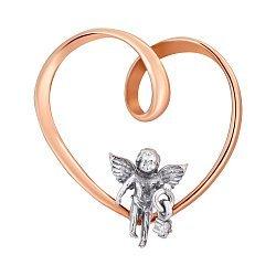 Золотой кулон Ангелочек в сердце в комбинированном цвете с цирконием