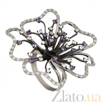 Золотое кольцо Камелия с фианитами VLT--Т1145