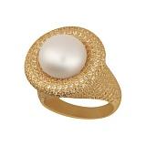 Кольцо из желтого золота Монарх с жемчужиной и фианитами