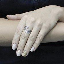 Серебряное кольцо Волшебное перо с разомкнутой шинкой и чернением