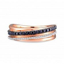 Кольцо из красного золота Миа с бриллиантами и сапфирами