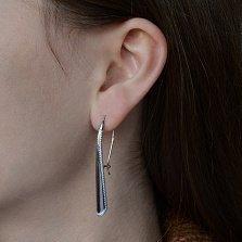 Серебряные серьги-подвески Дарлин с фианитами