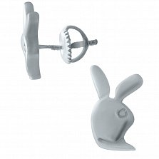 Серебряные серьги-пуссеты Кролики
