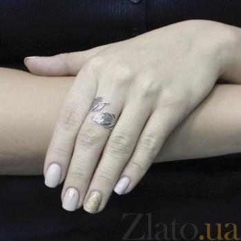 Серебряное кольцо Волшебное перо с разомкнутой шинкой и чернением 000096506
