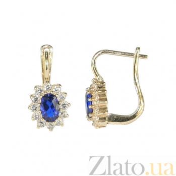 Золотые серьги с фианитами и шпинелью Карла 2С304-0158