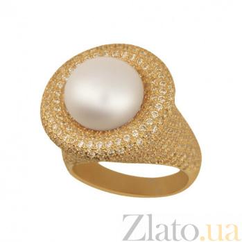 Кольцо из желтого золота Монарх с жемчужиной и фианитами VLT--ТТ1226-1