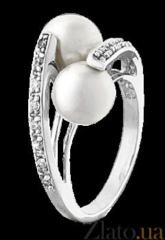Серебряное кольцо с белым жемчугом Миллисент 000025836