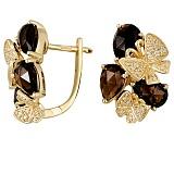 Серьги из желтого золота Вечерние бабочки с кварцем и бриллиантами