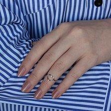 Серебряное кольцо на фалангу Сердце мира с разомкнутой шинкой