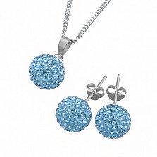 Ювелирный набор Фортуна со светло-голубыми кристаллами Сваровски