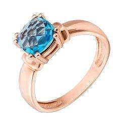 Кольцо в красном золоте София с голубым топазом 000080825
