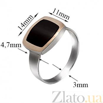 Серебряное кольцо Классика с золотой вставкой и ониксом BGS--255/1к оникс