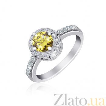 Серебряное кольцо Ривьера с оливковым и белым цирконием 000025454