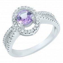 Серебряное кольцо Ангелина с аметистом и фианитами