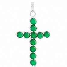 Серербряный крестик Надин с зеленым агатом