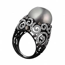 Золотое кольцо с жемчугом и бриллиантами Бенедикта