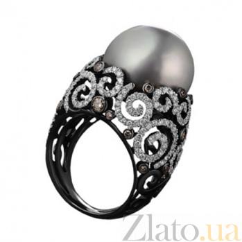 Золотое кольцо с жемчугом и бриллиантами Бенедикта KBL--К1827/бел/жем