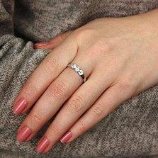 Серебряное кольцо Омега с фианитами