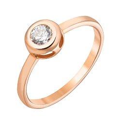 Золотое кольцо Simple Plan в красном цвете с завальцованным фианитом 000069396