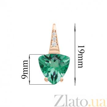 Серьги в красном золоте Марта с зеленым кварцем и фианитами SVA--219061010103