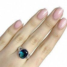 Серебряное кольцо Хилини с лондон топазом и узорами на шинке