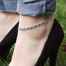 Серебряный браслет на ногу Мирена с синим и голубым цирконием