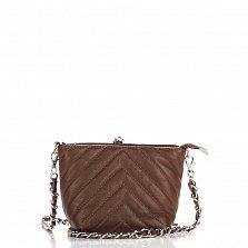 Кожаный клатч Genuine Leather 7754  цвета молочный шоколад с декоративными строчками