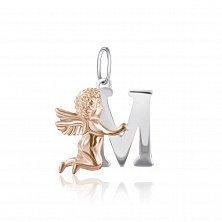 Серебряный подвес Ангелочек с буквой М с позолотой