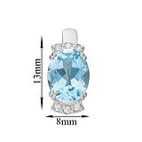 Серебряные серьги Эльвира с голубым топазом и фианитами