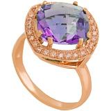 Золотое кольцо Фабьен с аметистом и фианитами