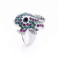 Серебряное кольцо Лягушка с изумрудами, рубинами и сапфирами