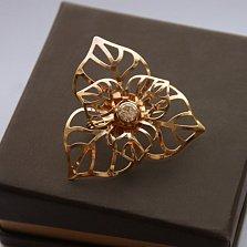 Золотая брошка Ажур с цирконием