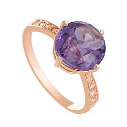 Золотое кольцо с александритом и фианитами Эстель