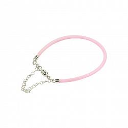 Розовый силиконовый браслет с серебром Ванильное небо