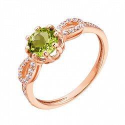 Кольцо из красного золота с хризолитом и кристаллами Swarovski 000135608