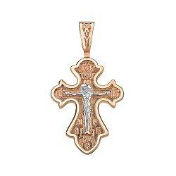 Золотой крестик в комбинированном цвете 000141698